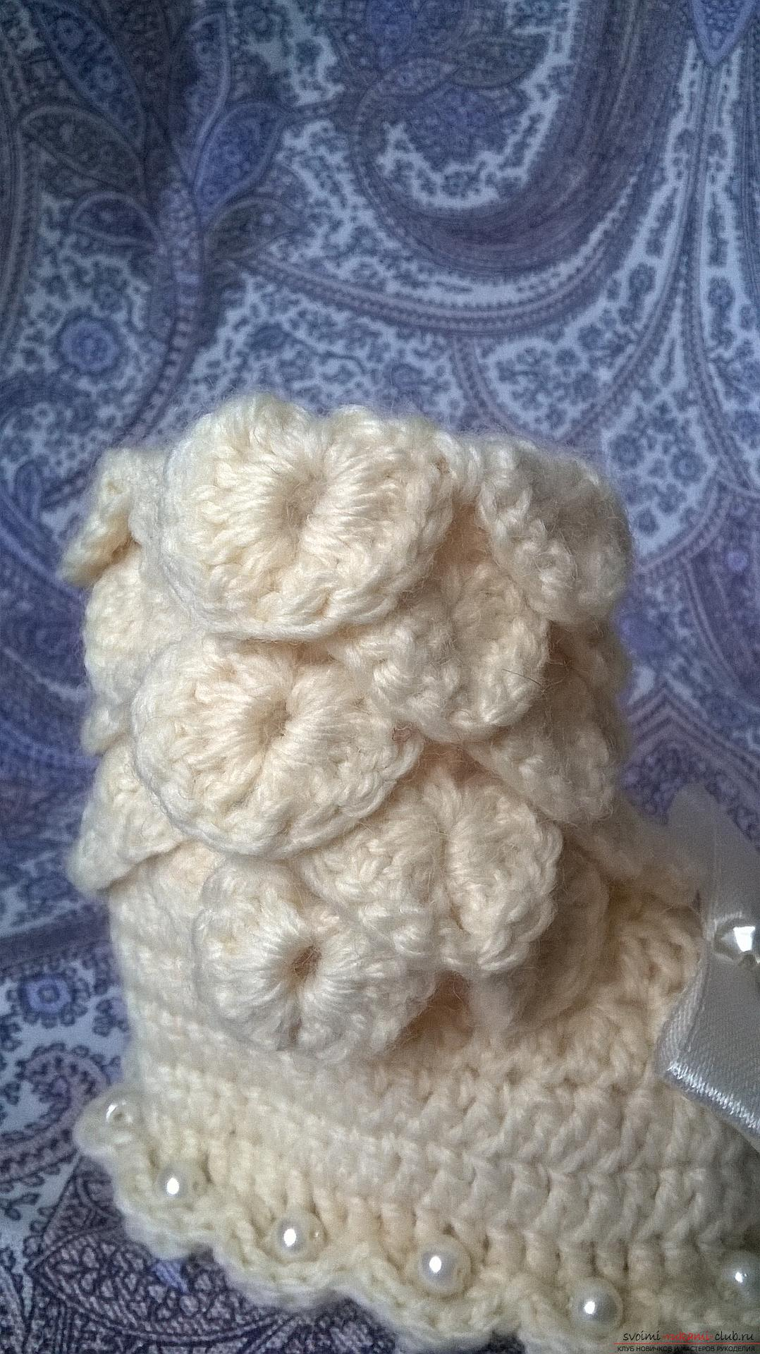 This master class with a description, scheme and video will teach how to knit booties crocheted .. Photo # 31