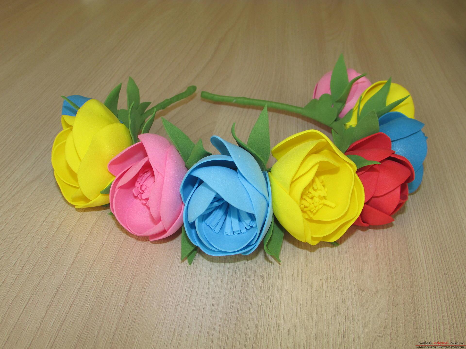 Този майсторски клас цветя от пениранин разказва как да направите красив летен венец .. Снимка №14