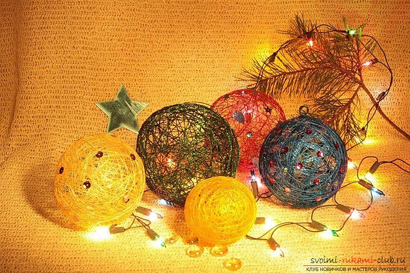 How to make magic Christmas balls of thread. Photo №4