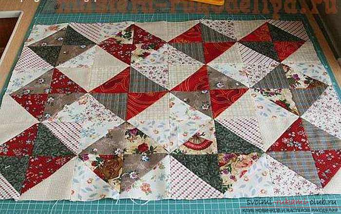 Patchwork patterns and ways of assembling when sewing from triangles. Photo №1