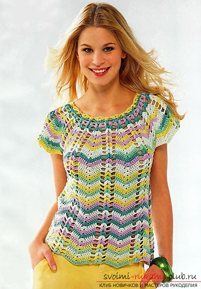 Bright and original top, crocheted. Photo №6