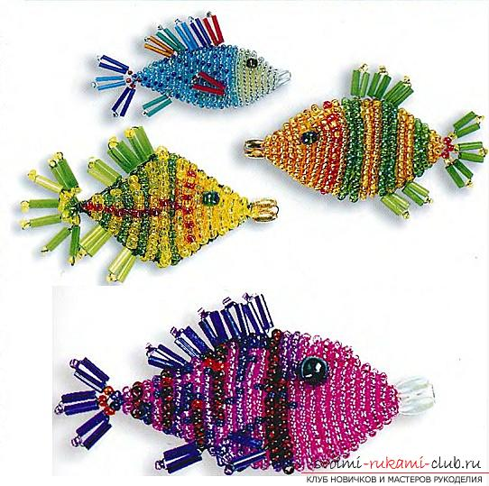 Free schemes of weaving different fish and seahorses from beads .. Photo # 9
