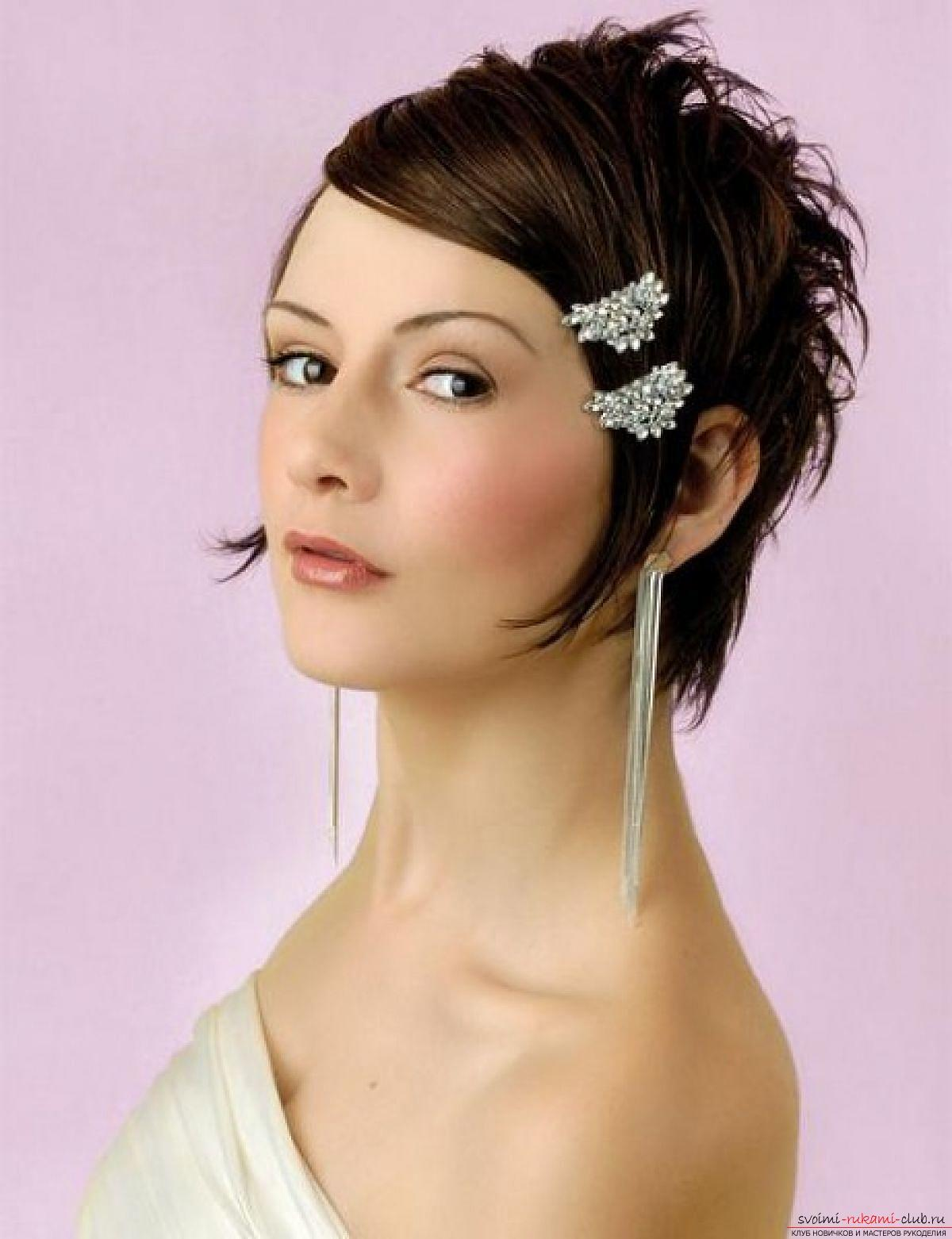 Hairstyles for brides for short hair. Picture №3