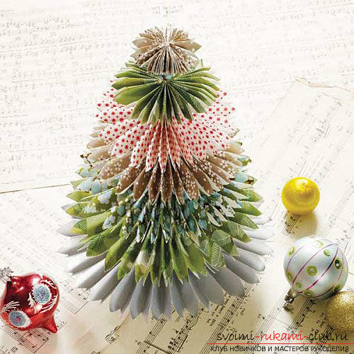 New Year tree with their own hands, Christmas tree of paper, Christmas tree of cloth, how to make a New Year tree, tips, recommendations, step-by-step photos .. Photo №15