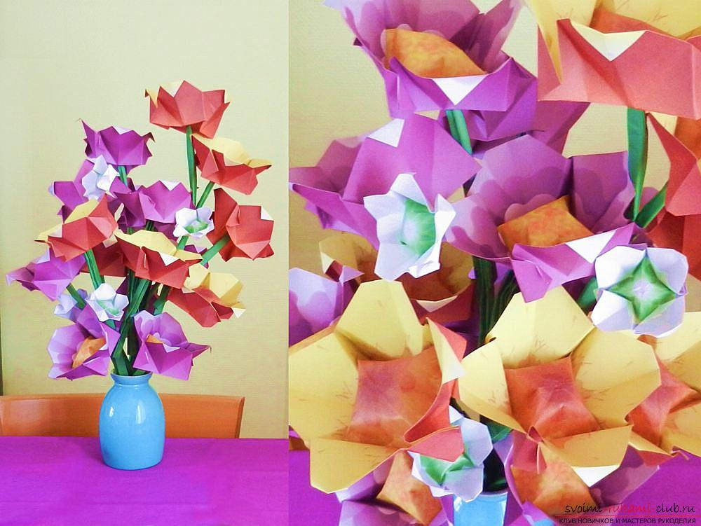 Simple schemes of origami flowers. Photo №1