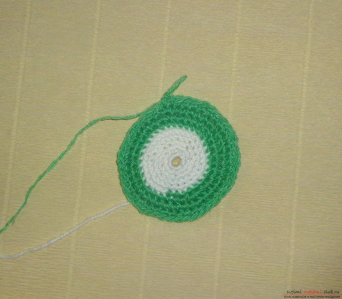 Crochet crochet lesson for hot Kiwi with a description of steps and photos. Photo №7