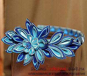 How to make a rim decoration for the hair in the form of turquoise flowers in Kansas technique, free, detailed photos and description. Photo №1