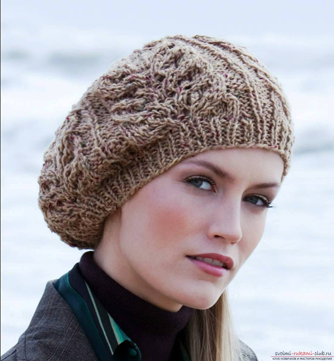 knitted needles for women autumn beret. Picture №3