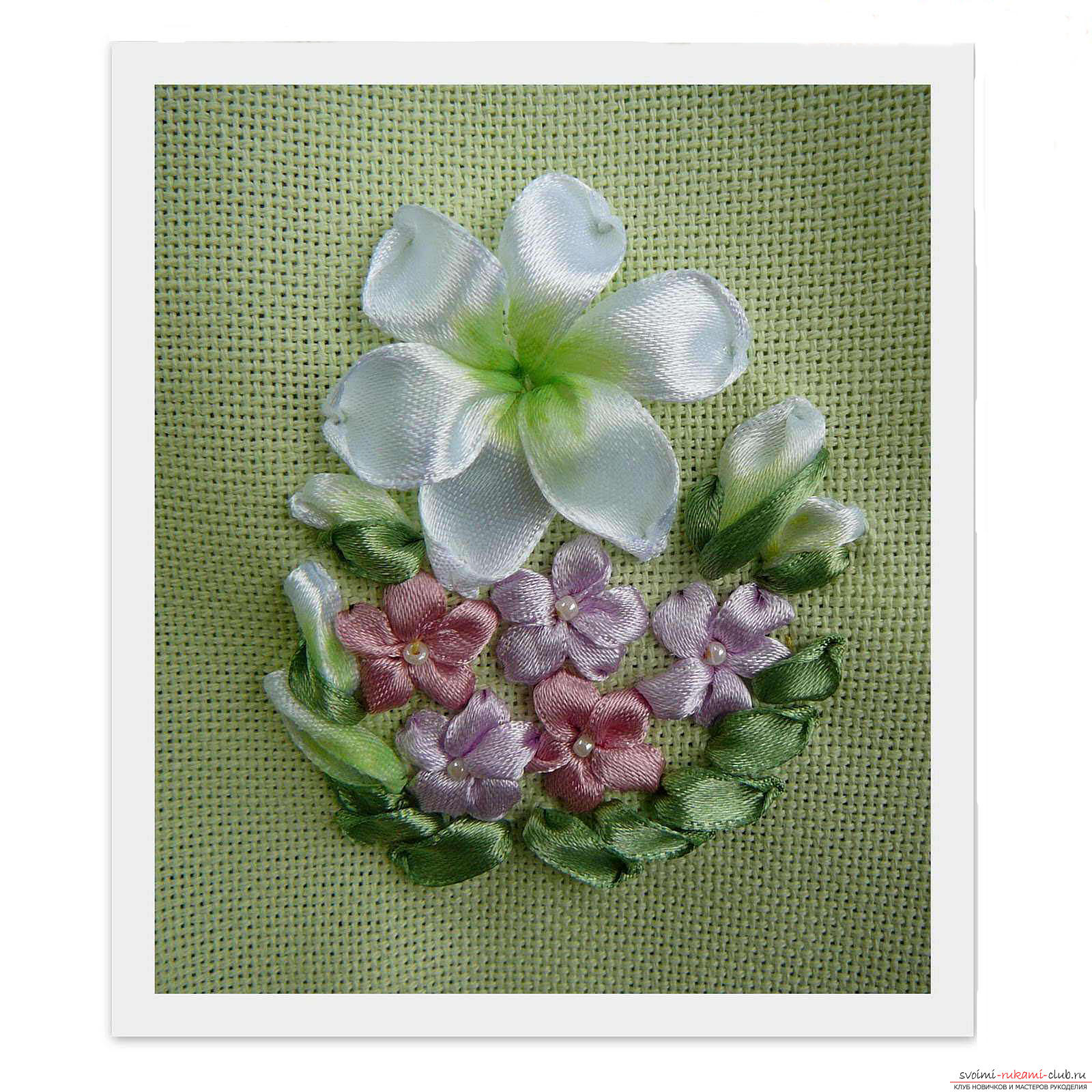 Embroidery with ribbons of white lilies. Photo №7