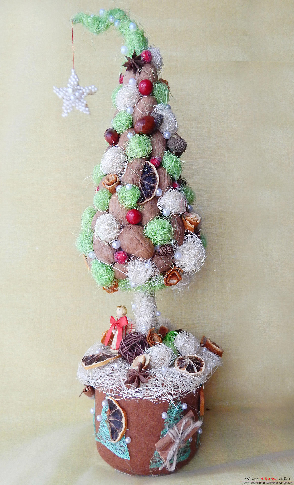 New Year composition from sezalya, walnuts and decor. Photo №4