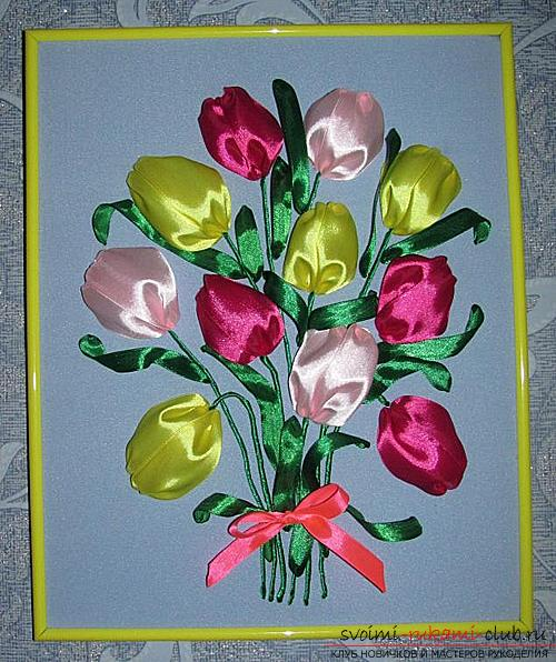 Original embroidery with ribbons of tulips according to the master class with photos and diagrams. Photo №7