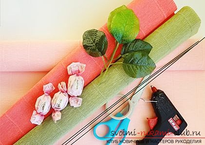 A rose with a candy gift to a woman with her own hands. A detailed description with a photo of the doge for beginner needlewomen. Photo # 2