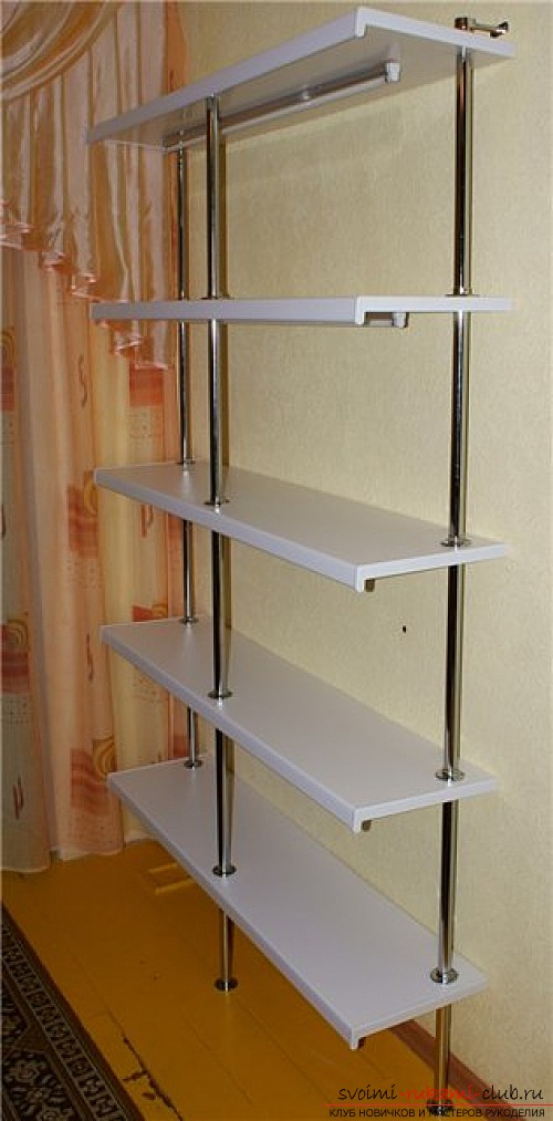 Detailed scheme and photo of manufacturing shelves for flowers. Photo №4