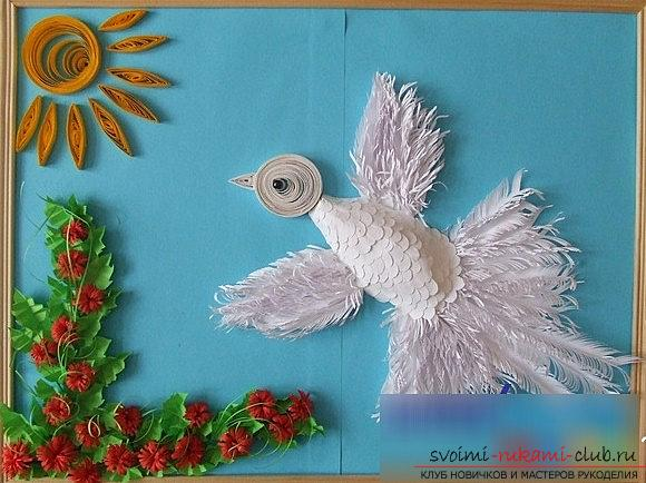 How to make a beautiful dove in a quilling technique? Master Class. Photo №6