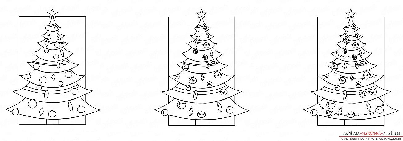 How to draw a Christmas tree with a pencil, a phased photo drawing and a description of the process. Photo №5
