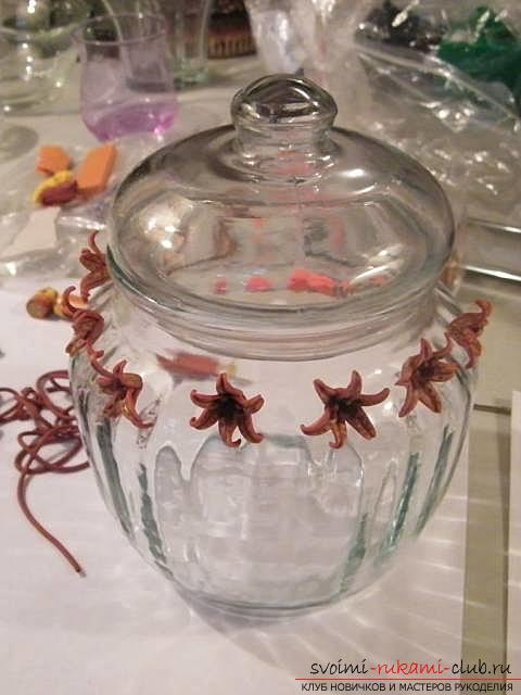 Master class with step-by-step photos, how to decorate a glass pot with polymer clay .. Photo # 16