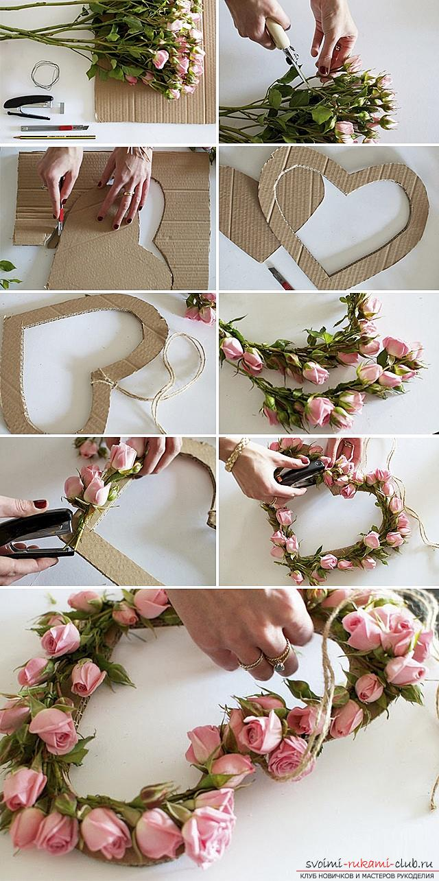 How to make original crafts for springWomen's Day - March 8, step-by-step photo creation frameworks for photos, topiary, crafts in the style of the suite design and a bouquet of huge roses from corrugated paper. Photo №8