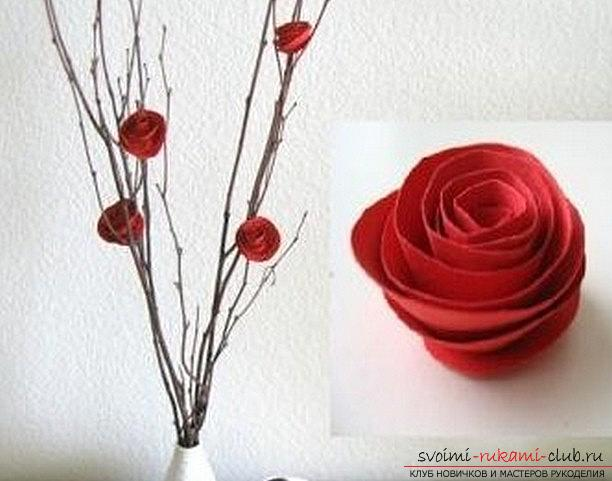 Quilling of a beautiful rose with your hands - a master class in quilling technique. Photo №1