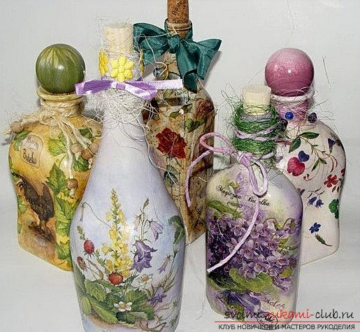 Original decoupage of bottles with their own hands: master class. Photo №5