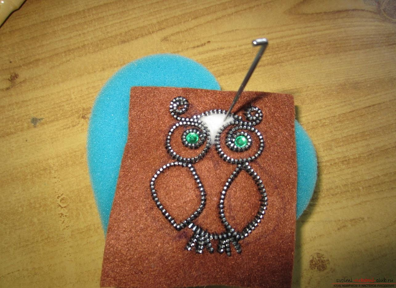 Master-class for making brooches from felt, wool, metal zippers and glue. Photo number 12