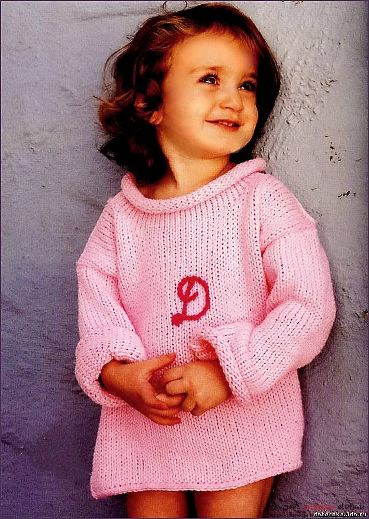 children's sweater with knitting needles. Picture №3