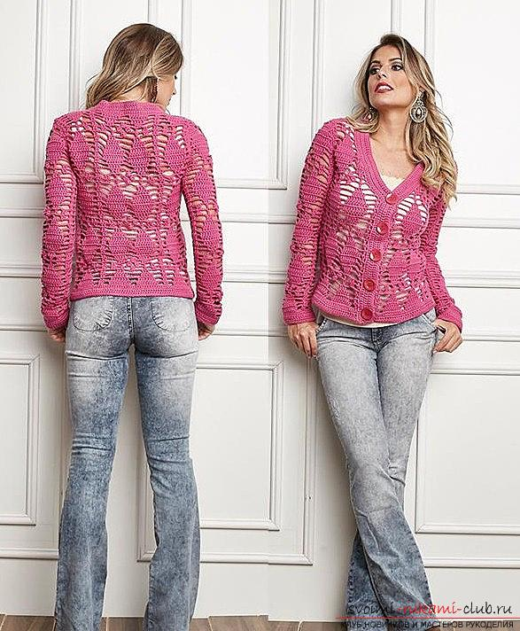 Crochet openwork jacket with a pattern of rhombuses 2015 - crochet patterns. Photo # 2