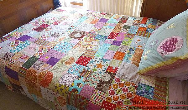How to make a blanket with your own hands in the patchwork technique, as well as decorating the dresser with the help of fabric .. Photo # 1