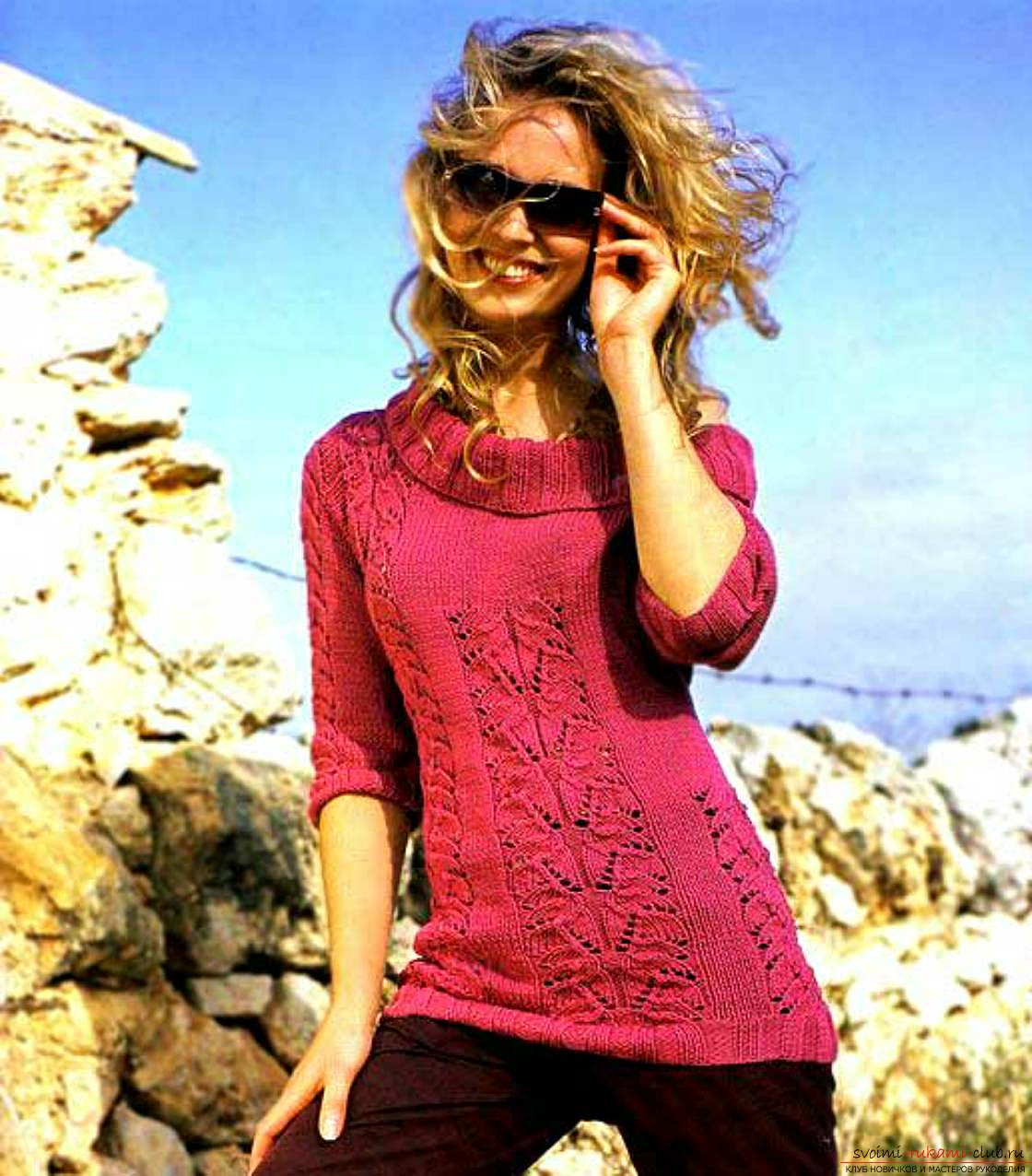 knitted on spokes original female pullover. Photo №4