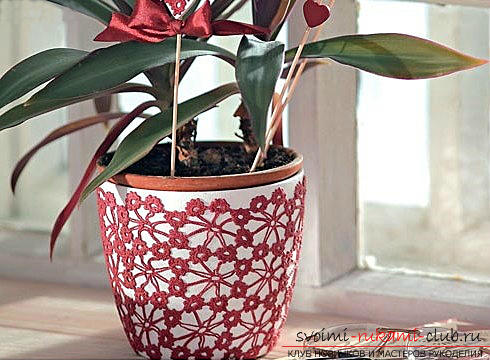 Recommendations for decorating flower pots with their own hands, different styles and techniques of decor .. Photo №18