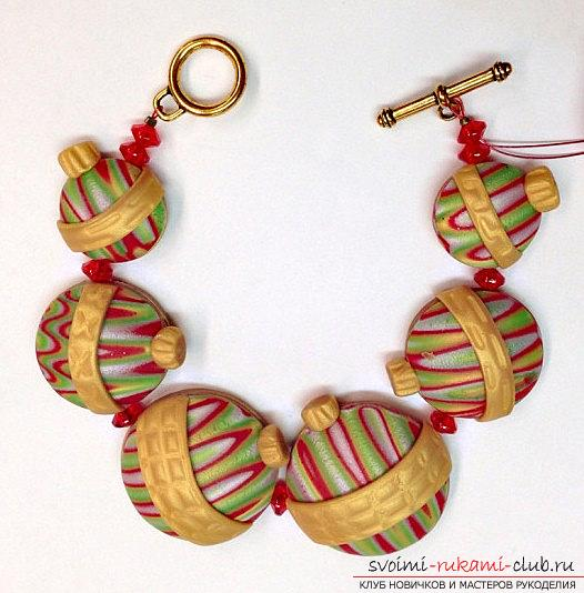 Christmas tree beads made of polymer clay for New Year's holidays - master class modeling. Photo №8