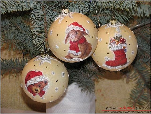 How to decorate Christmas tree balls with the help of decoupage techniques, two master classes with step-by-step photos. Photo №1