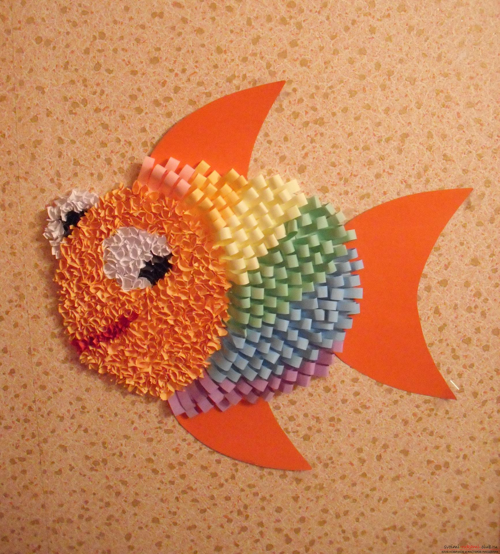 This master class will teach you how to make a rainbow fish with the technique of facing and applique .. Photo # 1