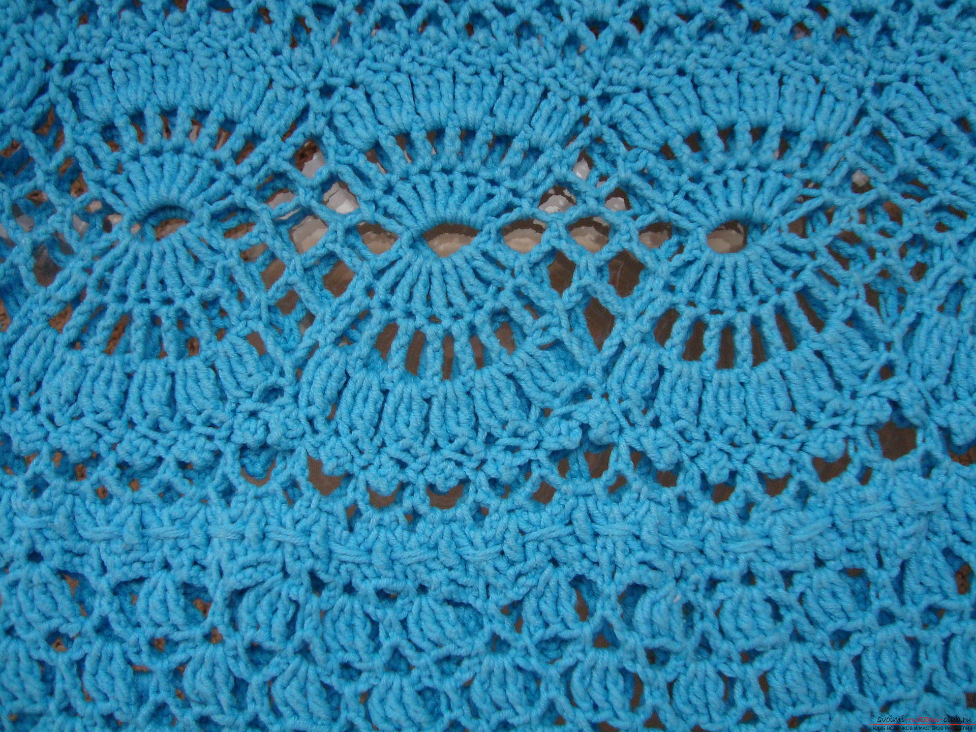 Step-by-step instruction on the binding of a turquoise dress with a crochet. Photo №7