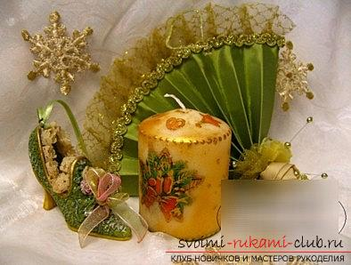 How to make a New Year's decoupage for a candle - a master class with your own hands. Photo # 2