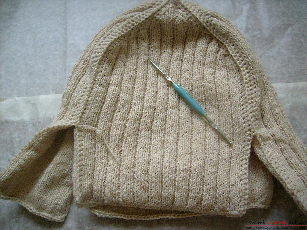 This master class with a pattern will teach how to tie a hat with ear flaps with knitting needles .. Photo # 16