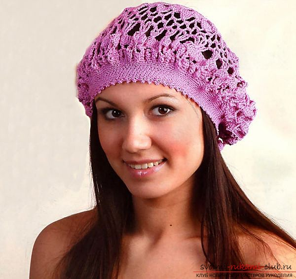 Fashionable beret, crocheted, for beginners. Photo №4
