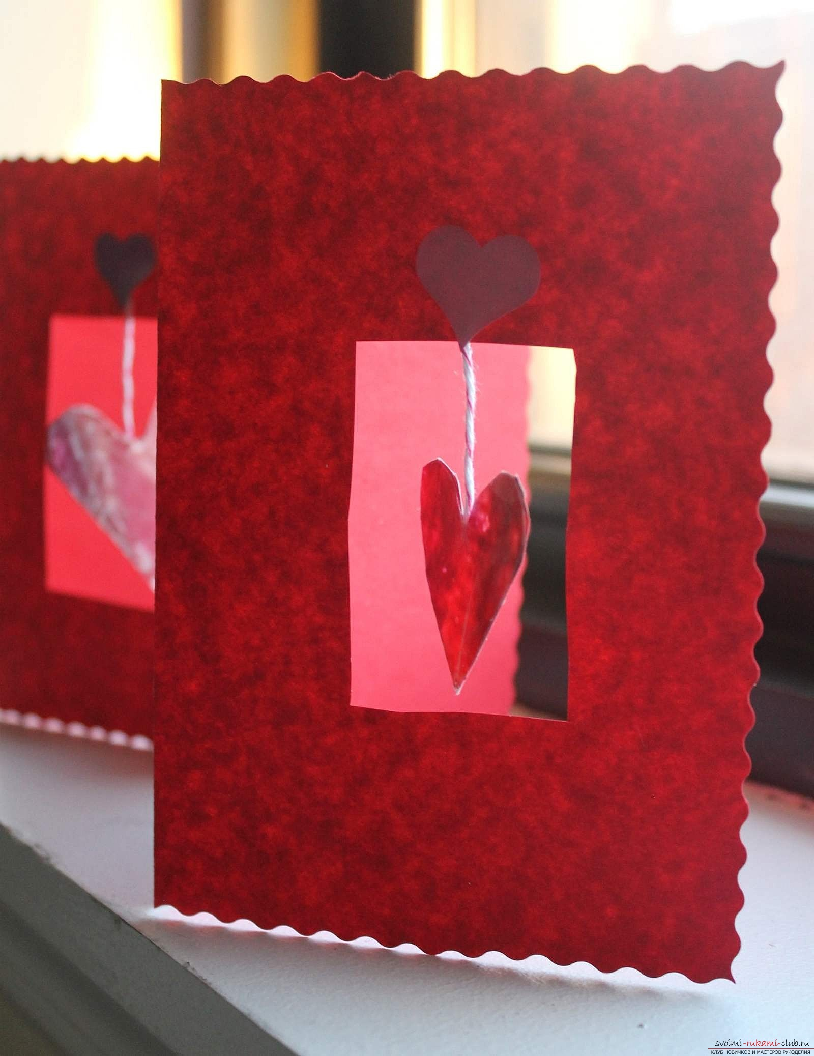 Postcard made of cardboard, made by own hands. Postcard for loved ones is free .. Picture №3
