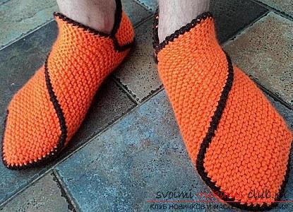 Ние се научаваме да плета чехли с две игли за плетене. Снимка номер 14