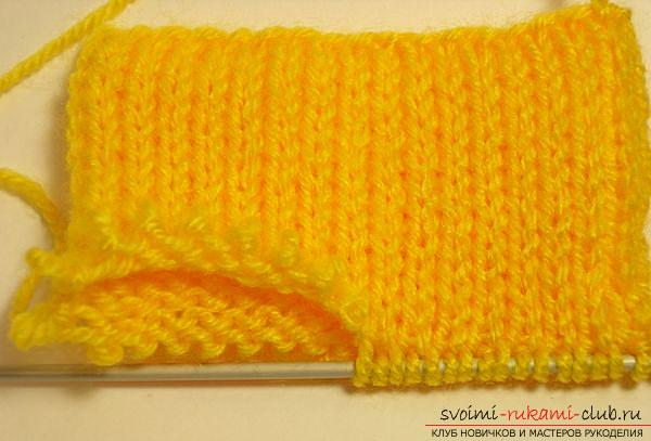 Interesting scheme of knitting with double knitted rubber bands. Photo №4