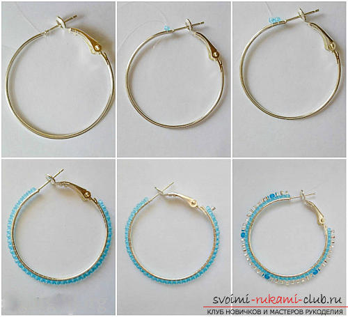 Free master classes with step-by-step photos on weaving earrings from beads .. Picture №11