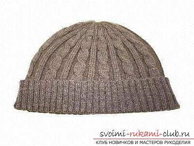 We learn to knit a man's hat with knitting needles according to the scheme. Photo №4