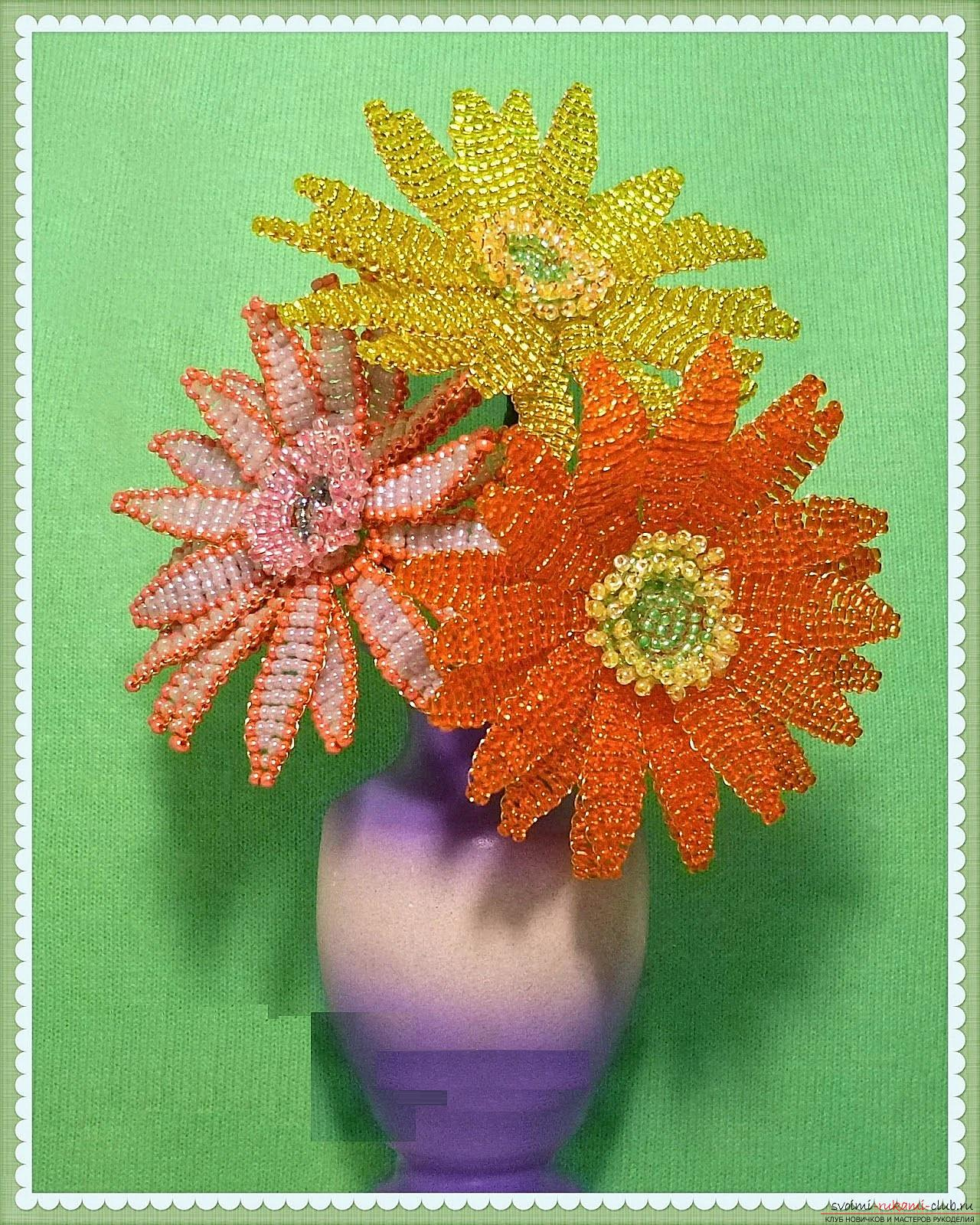 How to create a gerbera flower from beads in the technique of parallel weaving, step-by-step photos and description. Photo №1