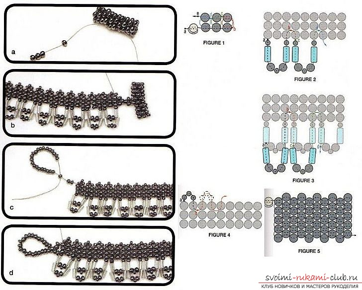 Different schemes of weaving necklaces from beads. Ornaments on the neck, created with the help of different beadwork techniques. Photo # 10