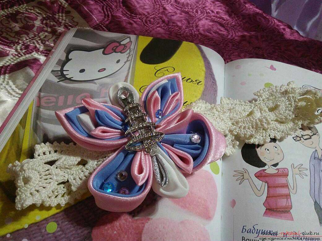 Kanzashi: a large butterfly as a hair ornament. Photo # 2