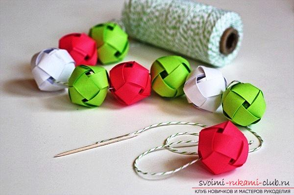 New Year's crafts, the creation of Christmas decorations from paper, the various creation of paper balls with their own hands, how to make a beautiful garland of paper with their own hands .. Photo # 9