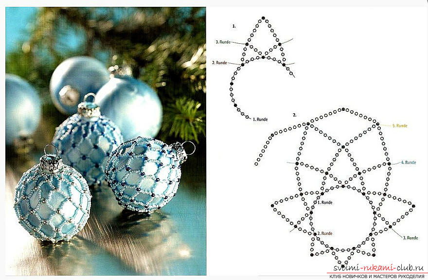 Master classes on weaving various Christmas decorations, photos, charts, description. Photo №7