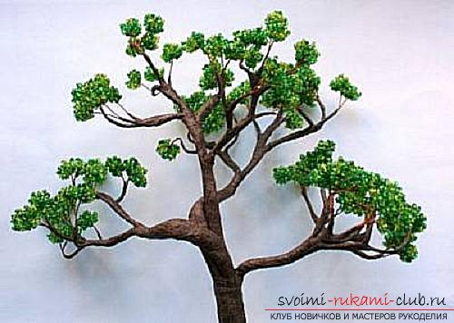 Free detailed lessons on weaving of beads bonsai in different shades. Photo # 24