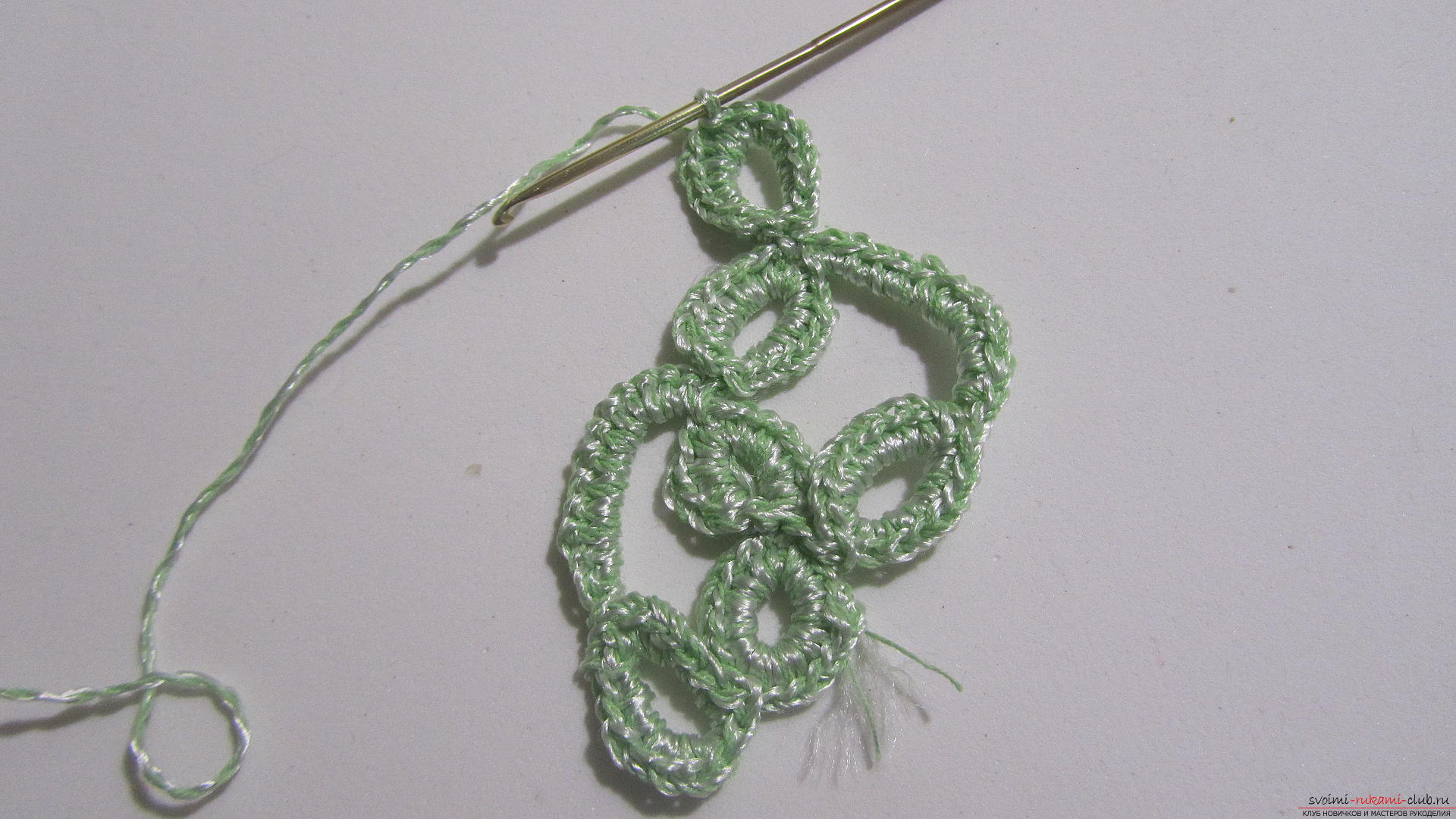 This master class will tell you how to create a crocheted knitted braid in the technique of ribbon lace. Photo # 24