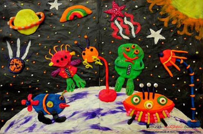 The theme of space in children in classes on modeling and creation of hand-made articles. Photo №7