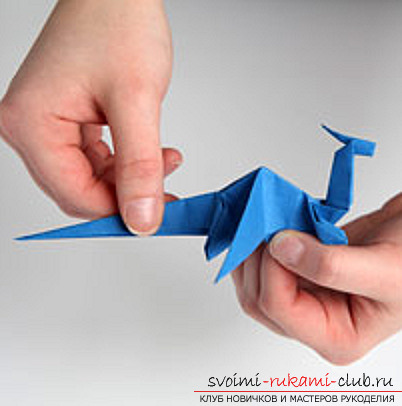 Blue dragon origami. Picture №34